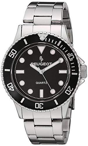 Peugeot Men's Silver Steel Pro Diver Black Bezel Bracelet Watch 1023S