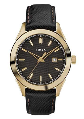 TIMEX Black Leather Watch-TW2R90400