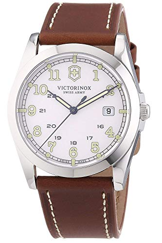 Victorinox Infantry White Dial Leather Strap Mens Watch 241564XG (Renewed)