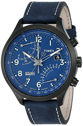 Timex Men's Stainless Steel Watch with Leather Band