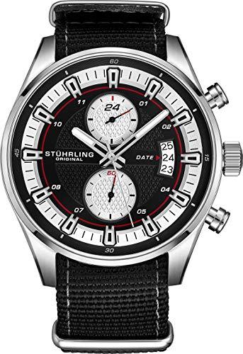 Stuhrling Original Men's Analog Watch - Stainless Steel True Dual Time Zone GMT W/Date Sports Watch - Comfortable, Durable NATO Nylon Strap - 845 Series (Black/Black)