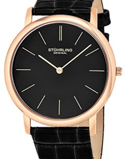 Stuhrling Original Men's 601.3345K1 Analog Classic Ascot Swiss Quartz Ultra Thin Rose Tone Black Leather Strap Watch