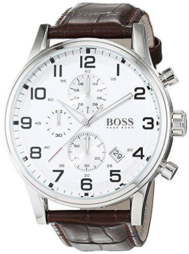 Hugo Boss Silver Dial SS Leather Chrono Quartz Mens Watch 1512447
