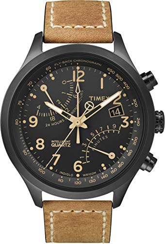 Timex Men's Intelligent Quartz Fly-Back Chronograph Tan Strap Black Case