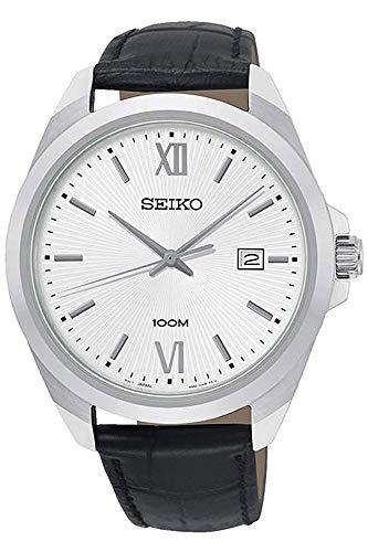 Seiko SUR283 Silver Leather Japanese Quartz Dress Watch