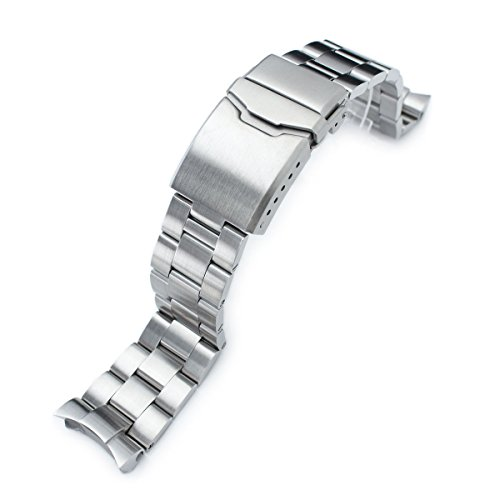 22mm Super Oyster Watch Band for SEIKO Diver SKX007 SKX009, Brushed, Button Chamfer