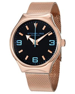 Stuhrling Original Men's 184.334451 Aviator Falcon Eagle Elite Swiss Quartz Rose Tone Watch
