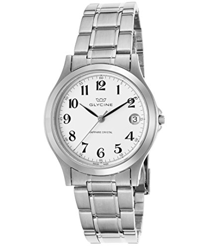 Glycine 3690-14-Sap-Mb Men's Stainless Steel White Dial Black Hands Watch