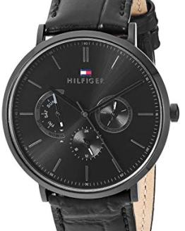 Tommy Hilfiger Men's Stainless Steel Quartz Watch with Leather Calfskin Strap, Black, 1710378
