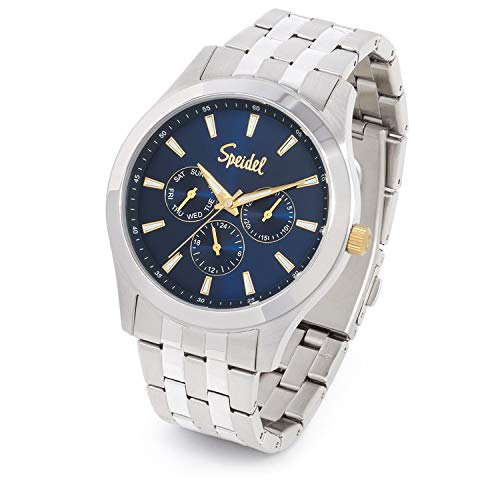 Speidel Men's Chrono Stainless Steel Blue Sunray Dial Watch with Stainless Steel Band