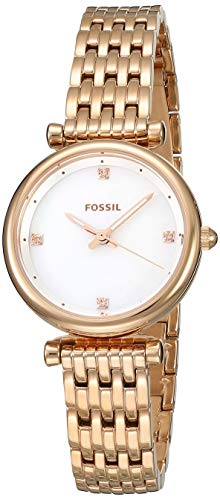 Fossil Women's Carlie Stainless Steel Quartz Watch with Strap, Rose Gold, 12 (Model: ES4429)