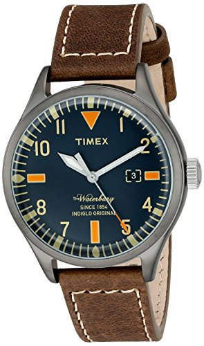 Timex 'Waterbury' Quartz Stainless Steel and Leather Dress Watch
