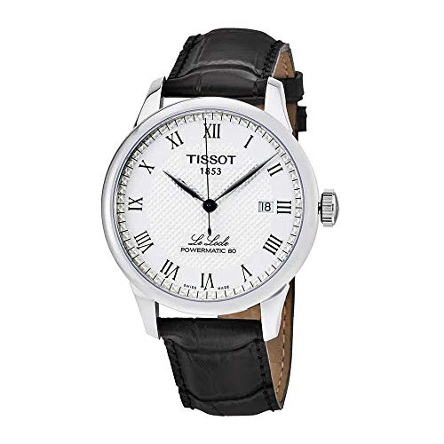 Tissot Powermatic 80 Silver Dial Black Leather Strap Men's Watch