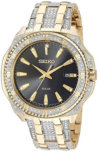 Seiko Men's Crystal Solar Japanese-Quartz Watch with Two-Tone-Stainless-Steel Strap, 21 (Model: SNE458)