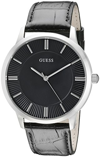 GUESS Black Genuine Leather Dress Watch with Stainless Steel Case. Color: Black (Model: U0664G1)