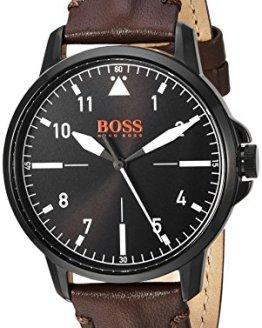 BOSS Orange Men's Chicago Stainless Steel Quartz Watch with Leather Calfskin Strap, Brown, 18 (Model: 1550062)