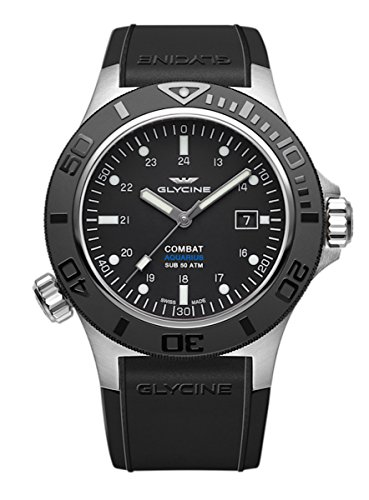 Glycine Combat Aquarius Mens Analog Swiss Automatic Watch with Rubber Bracelet 3946.199 D9