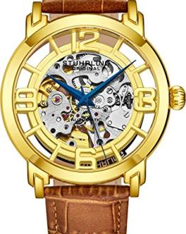 Stuhrling Original Men's 165B2.3335K31 Winchester 44 Automatic Skeleton Goldtone Dial Watch
