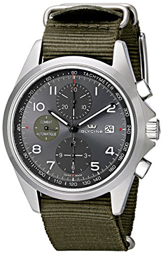 """Glycine Unisex 3924-10AT-TB2 """"Combat"""" Stainless Steel Automatic Watch with Green Nylon Band"""