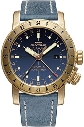Glycine Airman Mens Analog Swiss Automatic Watch with Leather Bracelet GL0167