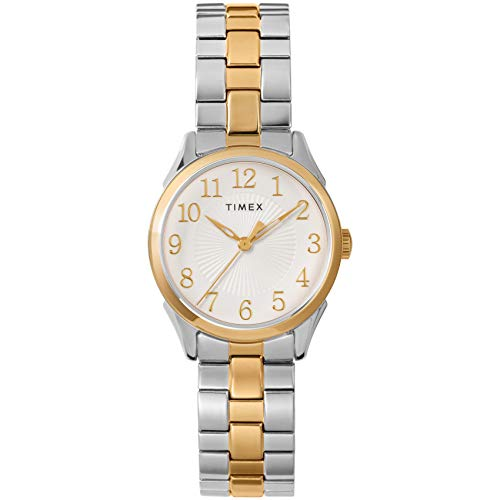 Timex Women's TW2T45500 Briarwood 28mm Two-Tone/White Stainless Steel Expansion Band Watch