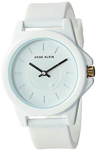 Anne Klein Women's Quartz Metal and Silicone Dress Watch, Color:White