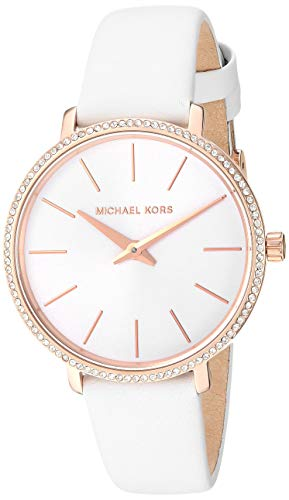 Michael Kors Women's Pyper Stainless Steel Quartz Watch with Leather Strap, Rose Gold/White, 14