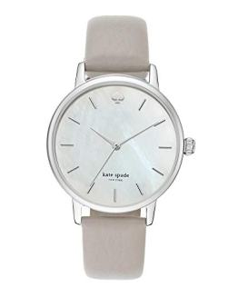 Kate Spade Women's Metro Stainless Steel Analog-Quartz Watch with Leather Calfskin Strap, Grey, 16 (Model: KSW1141)