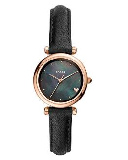 Fossil Women's Mini Carlie Stainless Steel Quartz Watch with Leather Strap, Black, 11.8 (Model: ES4504)