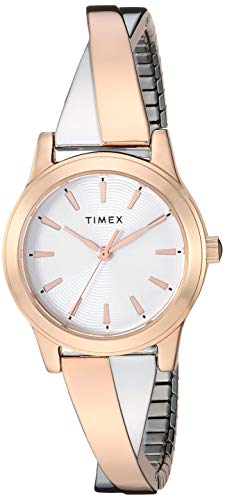 Timex Women's TW2R98900 Stretch Bangle Crisscross25mm Rose Gold-Tone Expansion Band Watch