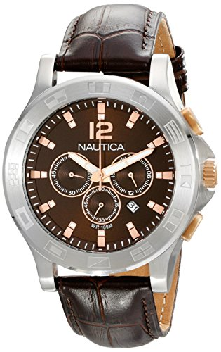 """Nautica Unisex N22620G NCS 801 """"Classic"""" Stainless Steel Watch with Brown Leather Band"""