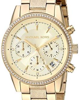 Michael Kors Women's Ritz Analog-Quartz Watch with Stainless-Steel-Plated Strap, Gold, 17.7 (Model: MK6597)