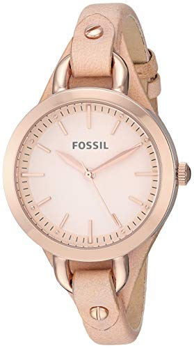 Fossil Women's Classic Minute Stainless Steel Quartz Watch with Leather Strap, Beige, 7.5 (Model: BQ3030)