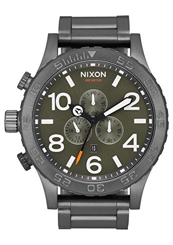 NIXON 51-30 Chrono A089 - All Gunmetal/Slate/Orange - 306M Water Resistant Men's Analog Fashion Watch (51mm Watch Face, 25mm Stainless Steel Band)