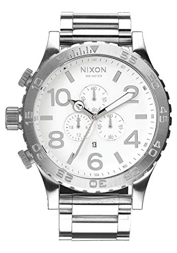 NIXON 51-30 Chrono A090 - High Polish/White - 307M Water Resistant Men's Analog Fashion Watch (51mm Watch Face, 25mm Stainless Steel Band)