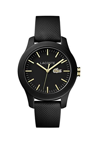 Lacoste Women's Ladies 12.Stainless Steel Quartz Watch with Silicone Strap, Black, 2000959