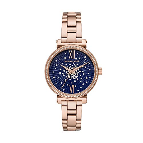 Michael Kors Women's Sofie Quartz Watch with Stainless-Steel-Plated Strap, Rose Gold/Blue, 14