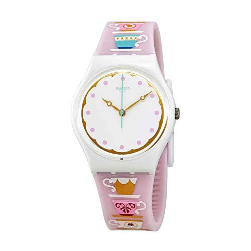 Swatch Originals High Tea White Dial Silicone Strap Ladies Watch GW191