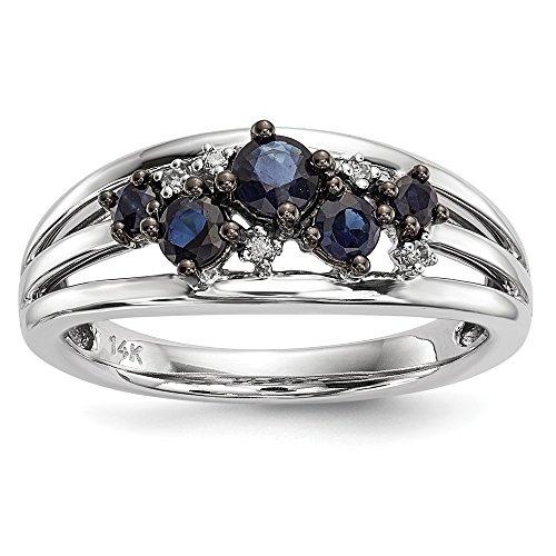 14k White Gold Diamond Sapphire Band Ring