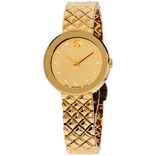 Movado Sapphire Quartz Movement Gold Dial Ladies Watch 0607107