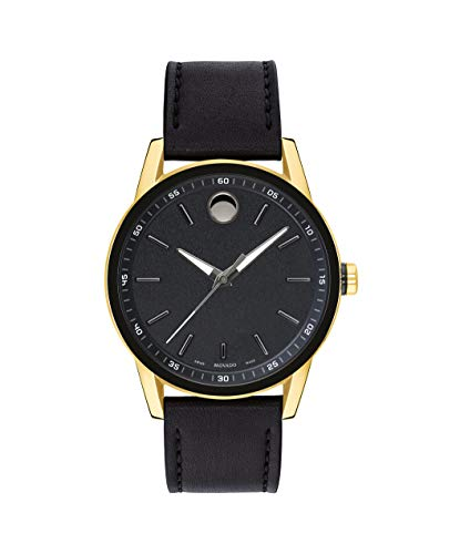 Movado Men's Museum Sport Yellow Gold Watch with a Printed Index Dial, Black/Gold (Model 0607223)
