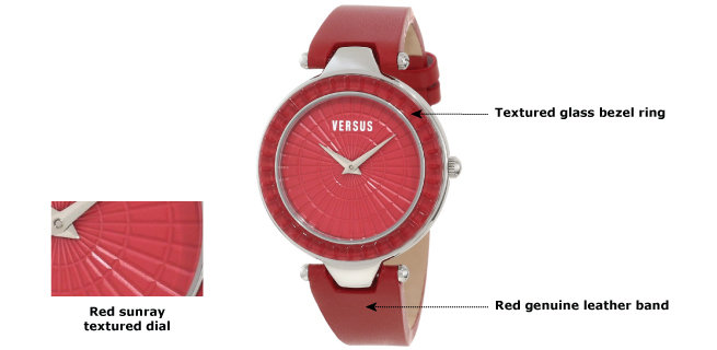 """Versus by Versace Women's 3C72200000 """"Sertie"""" Stainless Steel Watch with Red Leather Band 1"""