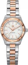 Tag Heuer Aquaracer White Dial 18kt Rose Gold Stainless Steel Ladies Watch