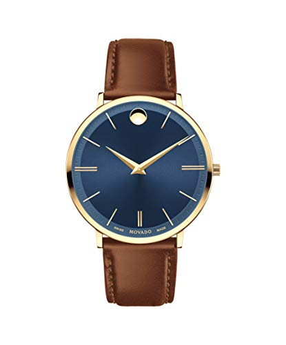Movado Ultra Slim, Yellow Gold PVD Case, Blue Dial, Cognac Leather Strap