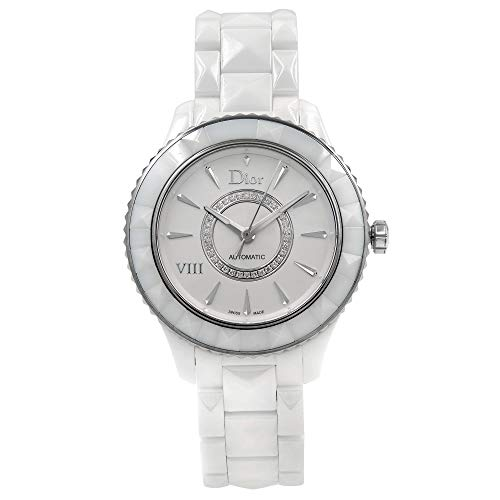 Dior VIII Diamond Automatic White Ceramic and Stainless Steel Ladies