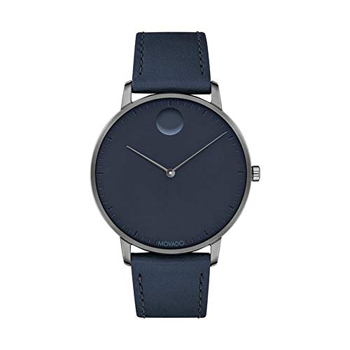 Movado FACE, Grey Ion-Plated Stainless Steel Case, Navy Dial, Navy Leather Strap, Men, 3640004