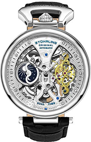 Stührling Original Mens Skeleton Watch Dial Automatic Watch