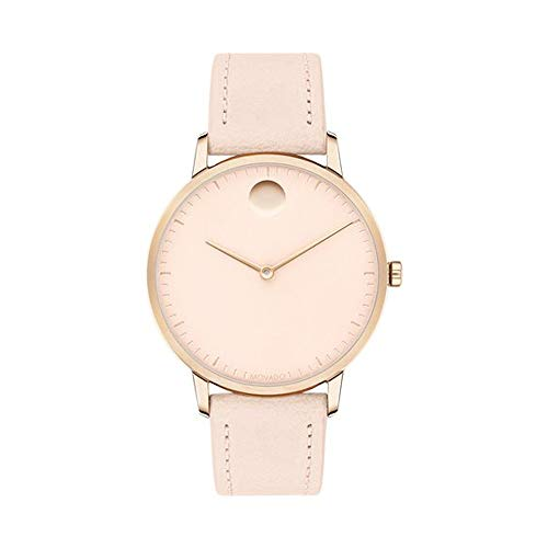Movado FACE, Carnation Gold Stainless Steel Case, Light Pink Dial, Pink Leather Strap, 3640011