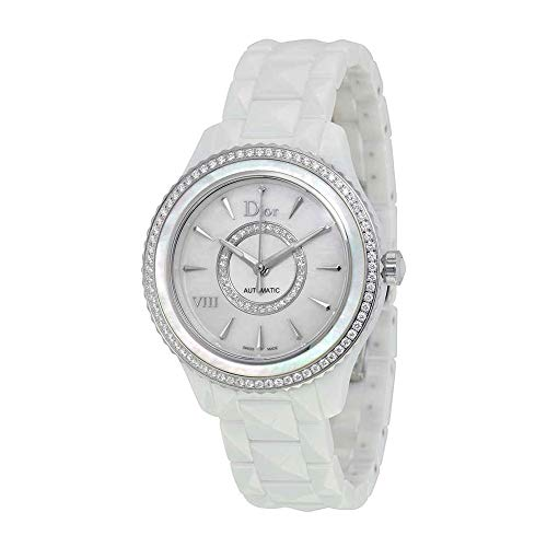 Dior VIII White Mother of Pearl Dial Ceramic Ladies Watch