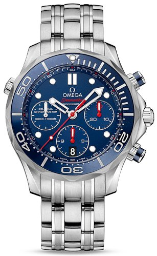 Omega Seamaster Diver Chronograph Blue Dial Steel Mens Watch